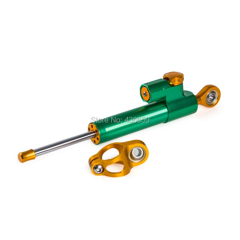 New Adjustable CNC Steering Damper Stabilizer Linear Reversed Safety Control, Anodized Green fxcnc aluminum universal cnc adjustable steering damper motorcycle stabilizer linear reversed safety control black