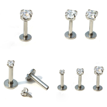 ZN 1 Pc Silver Labret Lip Ring Zircon Anodized Internally Threaded Prong Gem Monroe 16G Tragus