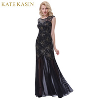 Kate Kasin Long Black Prom Dresses For Wedding Party Sequins Appliques Prom Gowns 2017 Women Cap