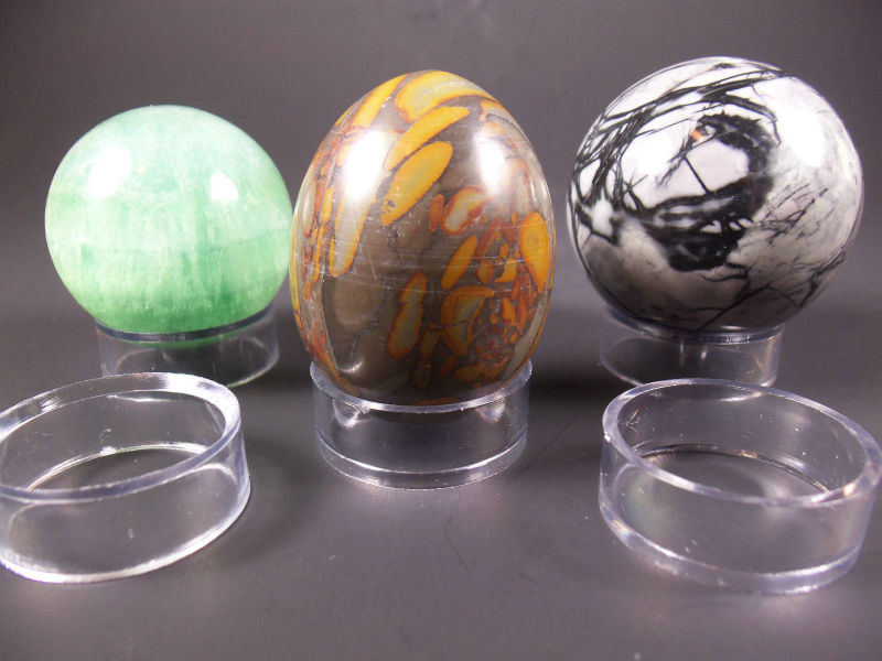 Three SMALL Size Acrylic Display Sphere Stands for Spheres Globes or Eggs!