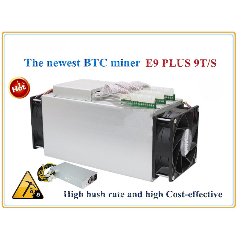 Newest 14nm Asic Miner BTC Miner Ebit E9 Plus 9T (with psu) better than Antminer S7 and low price than S9 good economy miner spot goods antminer s5 1155 gh s asic miner bitcon miner 28nm btc mining sha 256 miner power consumption 590w