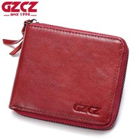 GZCZ Genuine Leather Wallet Female Coin Purse Women Wallets Zipper Clamp For Money Clutch Small Walet