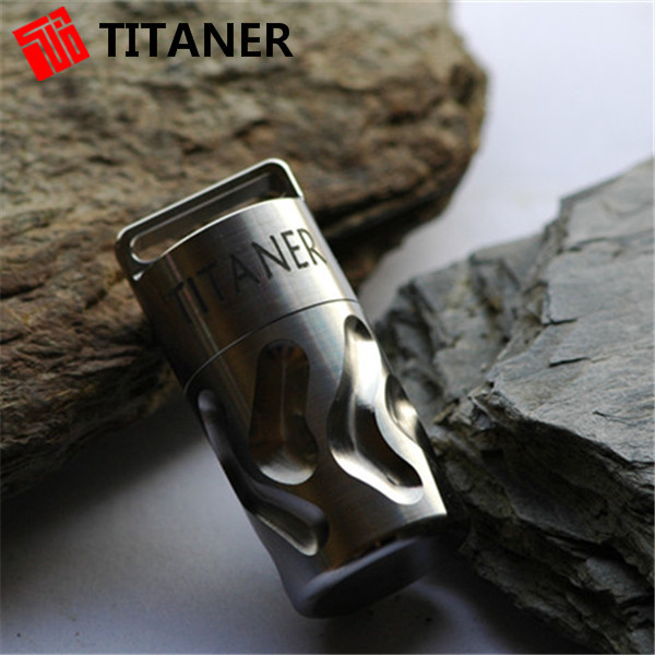 Outdoor Camping Titaner Titanium Waterproof Tablet Pill Box Medicine Capsule with Key Chain Portable Container Case