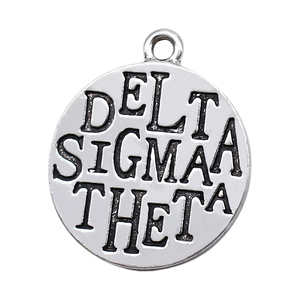 Fashion metal engraving word DELTA SIGMA THETA information tag charm FIT Greek letter society DST sorority jewelry accessories(China)