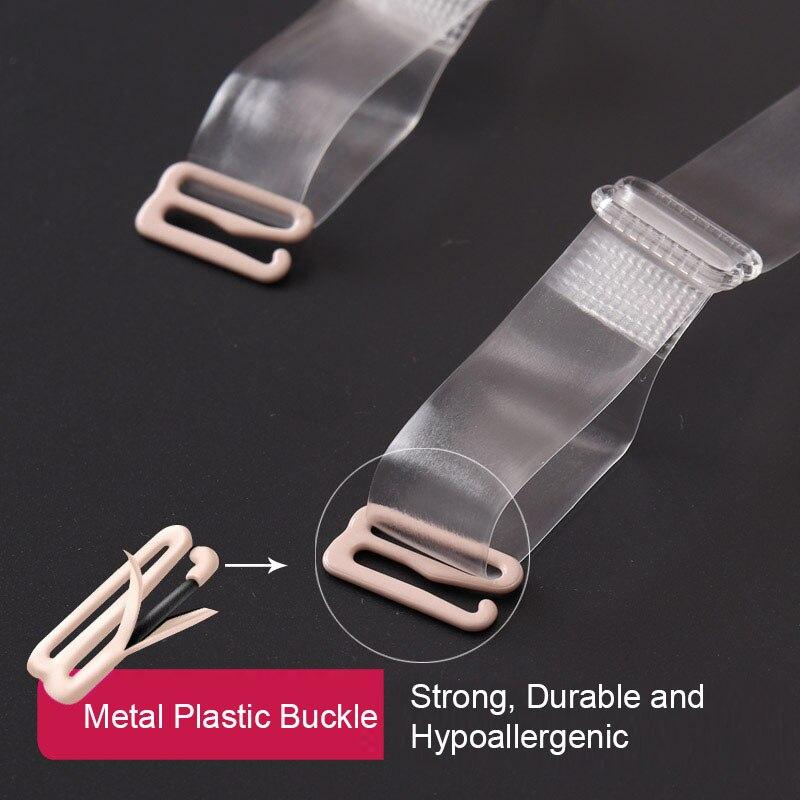 Iado 1 Pair Adjustable Invisible Transparent Clear Bra Shoulder Strap Metal Hook 1cm Bra Straps Silicone Bra Intimates Accessory