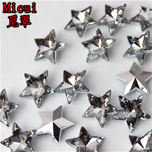 10cd776994 US $4.51 23% OFF|Micui 100PCS 14mm Five pointed star Rhinestone Acrylic  Rhinestone Pointback Stones Crystal For DIY Clothes Dress Crafts ZZ170-in  ...