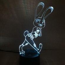 QICSYXJ kreatív ajándék kínálat Anime Zootopia 3d lámpa Judy Hopps Nick Wilde Flash lógó modell 7 színben Gradient Led Light Up Toys
