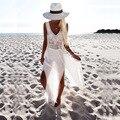 European Dress Женщины Cut Out 2017 Summer Long Dress Кисти Шифон Бикини Сексуальная Повседневная Пляж Рукавов V-образным Вырезом Dress