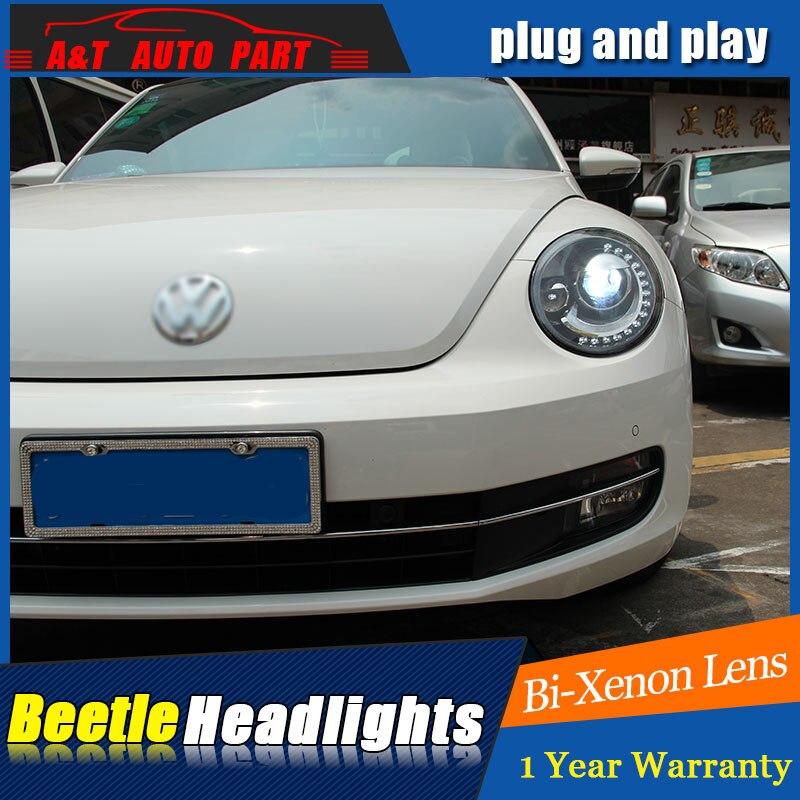 For VW Beetle headlights 2013 2018 for VW Beetle xenon bi xenon len parking headlamps car styling