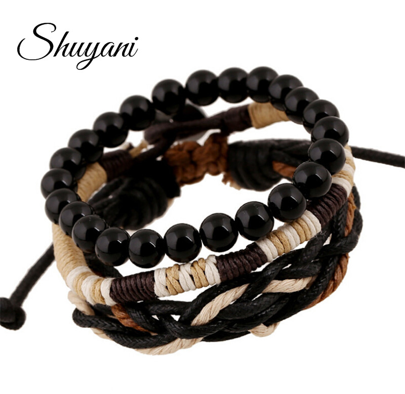 3Pcs/ set Handmade Braided Adjustable Beads Bracelet Vintage Punk Style Wristband Men Bangle Jewelry