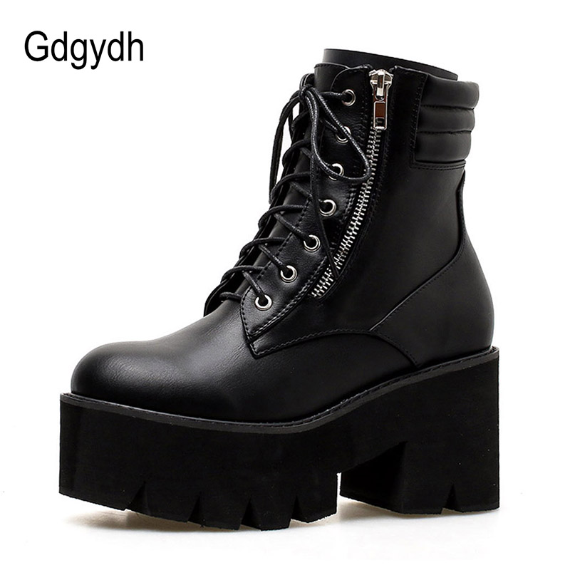 Gdgydh Gros Automne bottines Pour Femmes bottes de moto talons épais décontracté Laçage Bout Rond Plate-Forme Bottes Chaussures Femme - 2