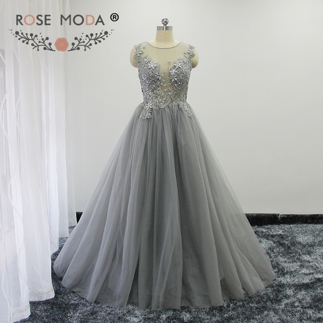 bebf699a60e Rose Moda Silver Grey Lace Evening Dress 3D Flowers Long Evening Ball Gown  Formal Party Dresses 2018