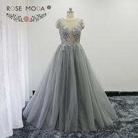 Rose Moda Silver Grey Lace Evening Dress 3D Flowers Long Evening Ball Gown Formal Party Dresses 2018