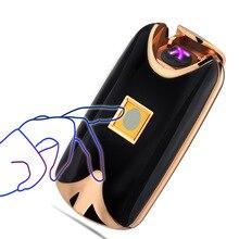 Юнан отпечатков пальцев touch индукции крест двойной дуги легче металла ветрозащитный сенсорный зондирования Авто-прикуриватели-8017