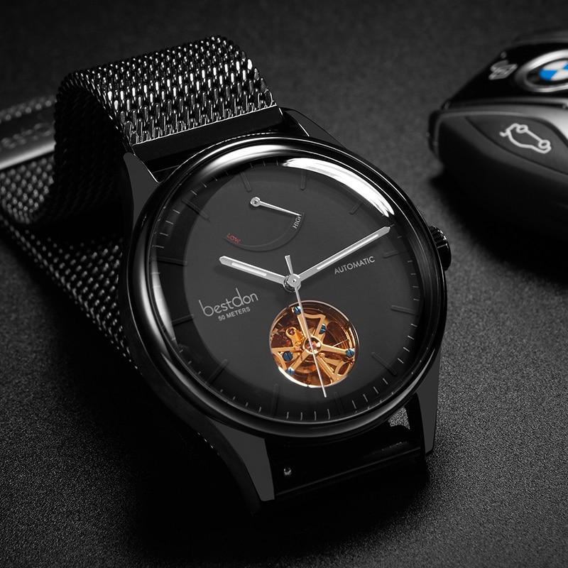 Bestdon montre mécanique automatique pour hommes affichage de l'énergie cinétique montres de sport de marque de luxe montre hommes Tourbillon Relogio Masculi