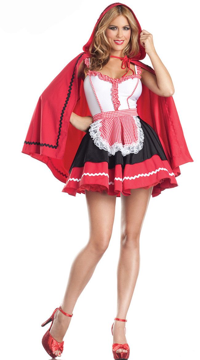 Vocole Halloween Sexy Little Red Riding Hood Costumes Fantasia Party Game Uniform