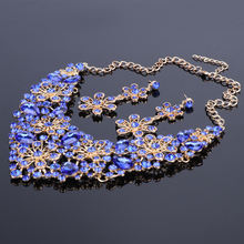 Fashion Blue Crystal Jewelry Sets, Bridal Necklace Earrings Sets