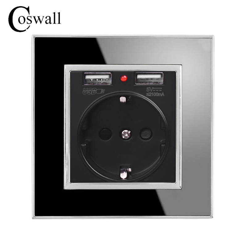 Coswall Black Dual USB Charging Port 5V 2.1A Wall Charger Adapter LED Indicator 16A EU Socket Power Outlet Acrylic Crystal Panel