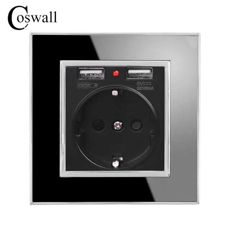 Coswall Noir Double Port De Chargement USB 5 v 2.1A Chargeur Mural Adaptateur Indicateur LED 16A EU Prise de Courant Prise De Courant Acrylique panneau de cristal