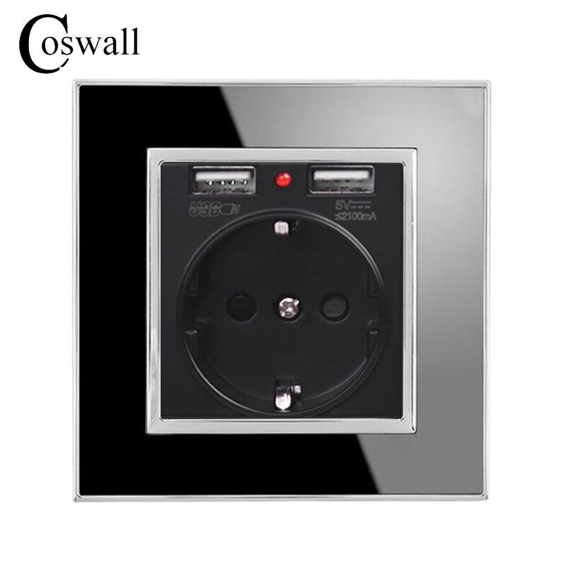 Coswall Noir Dual USB Port de Charge 5 v 2.1A Mur Chargeur Adaptateur LED Indicateur 16A UE Socket prise de Courant Acrylique panneau à cristaux