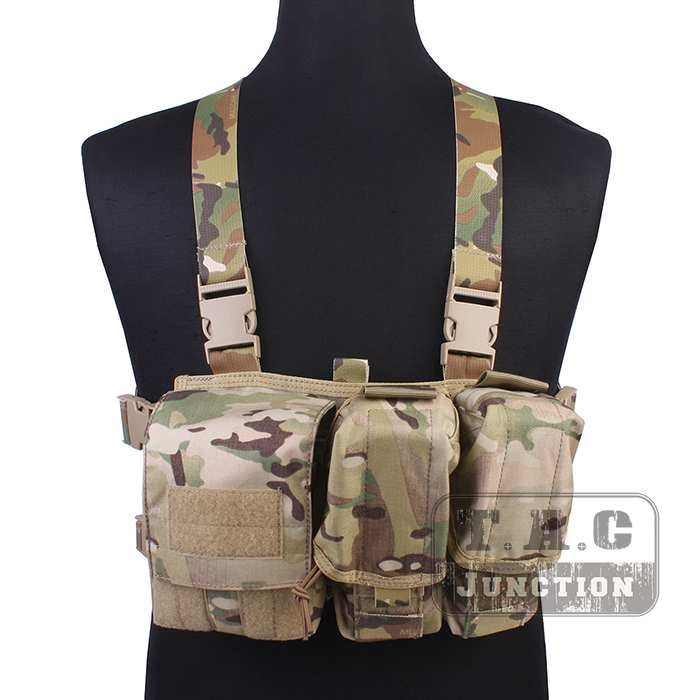 Emerson Tactical Combat Assault Lightweight Chest Rig Vest Harness Multicam MC Quick Release Carrier Vest w/ M4 M16 Mag Pouches