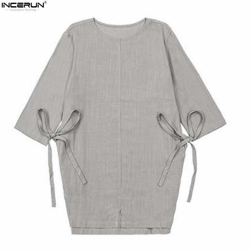 4f4585fcbd8 ... Новый китайский Стиль традиционные 3 4 рукав лето Однотонная одежда  рубашка без воротника Для мужчин ...