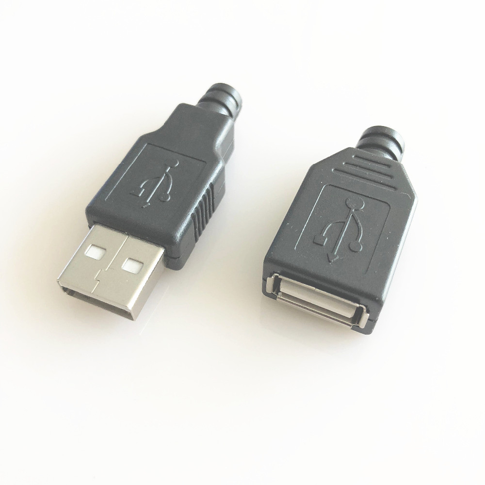 DIY Premium USB Connector with Shell Type-A Male And 4 Pin Plug Connector Socket