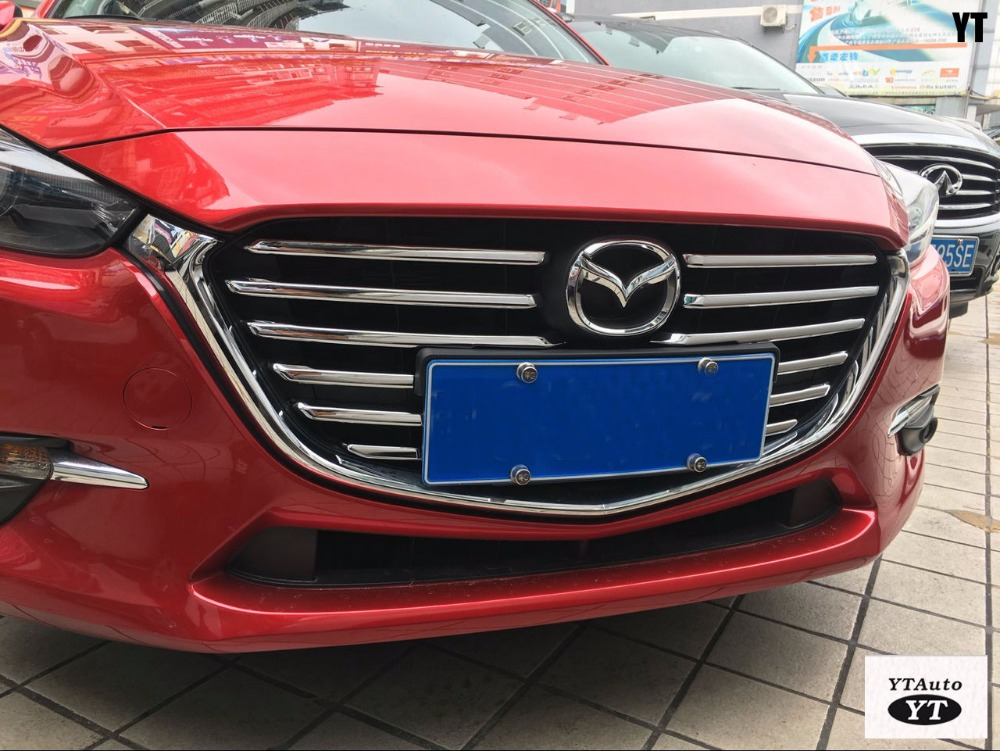 Kühlergrill trimmt für Mazda 3 2017, ABS chrom, 12 teile/satz, auto zubehör