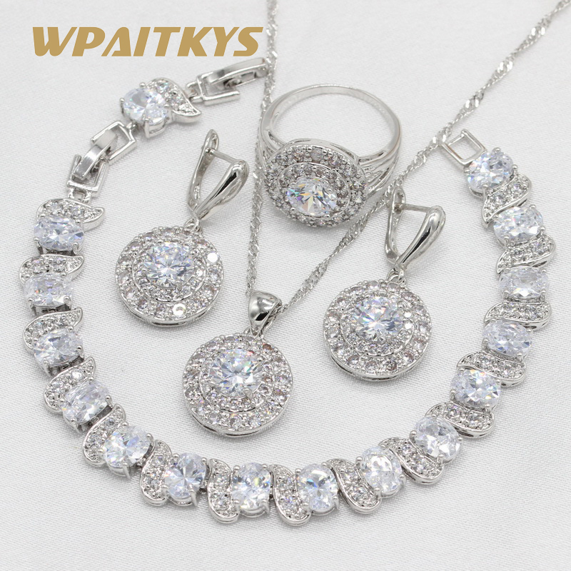 925 Sterling Silver Wedding Jewelry Sets For Women White Zirconia Necklace Pendant Earrings Ring Bracelet Gift Box wpaitkys trendy white opal 925 silver jewelry sets women s wedding necklace earrings ring bracelet free box