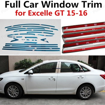 freeshipping stainless steel full window trim car styling dedicated car modification strip for E-xcelle GT 2015 2016