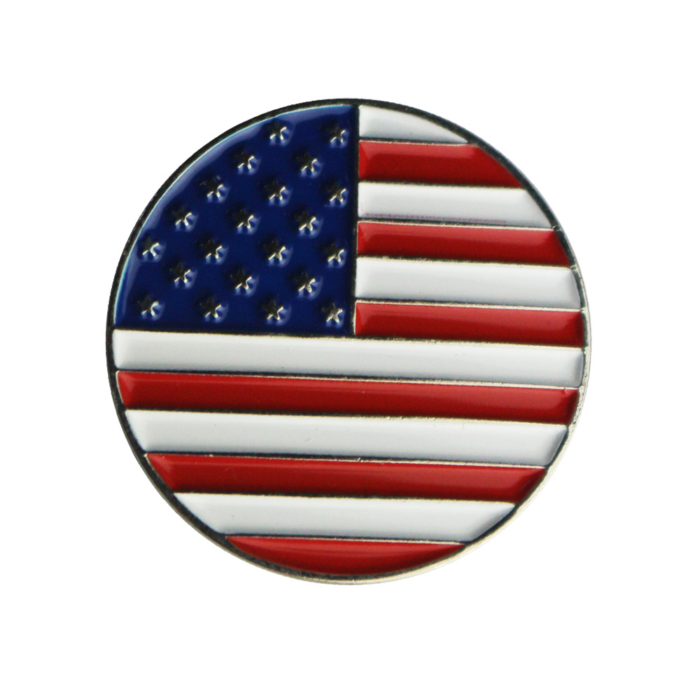 PINMEI USA Flag Metal Golf Ball Marks Sets Pack Of 5 American Golf Markers Fit Magetic Hats Clips Or Magnetic Divot Repair Tools