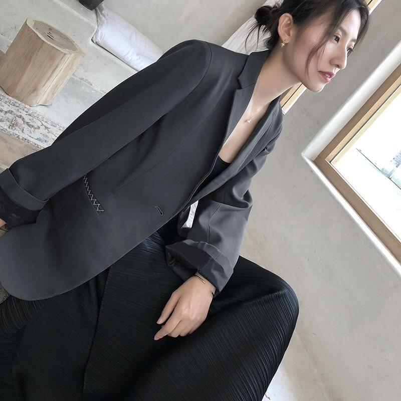Solide Mode Nouveau xitao See Poitrine Tempérament Pleine Manches Picture Loisirs Unique Cranté 2019 Col Couleur Printemps Femmes Dll2146 Blazer tqtPEf
