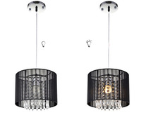 Modern Crystal Chandelier loft K9 Crystal decor hanglamp Nordic dining room pendant Lamp E27 Black Fabric lights WPL042