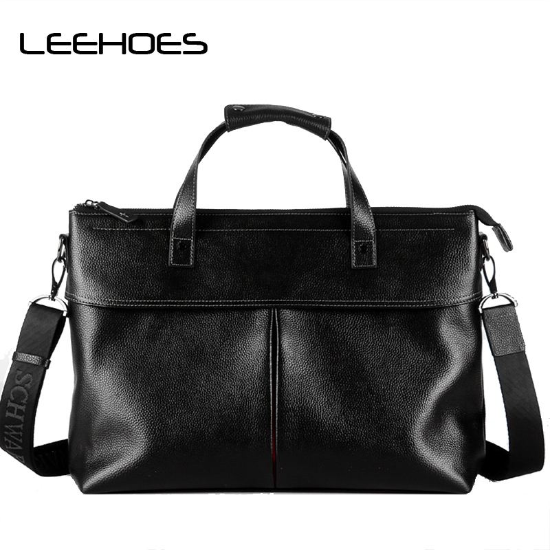 Men 's Genuine Leather Handbags Men Casual Computer Bag Leather Briefcase Men's Travel Shoulder Bags Tote Laptop Crossbody Bags lacus jerry genuine cowhide leather men bag crossbody bags men s travel shoulder messenger bag tote laptop briefcases handbags