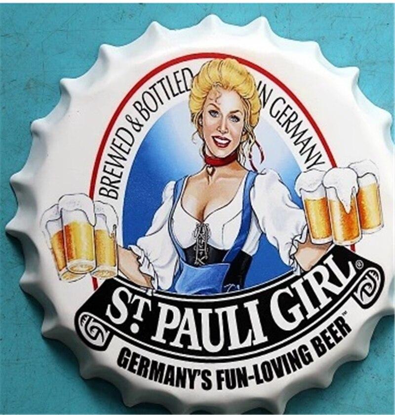 35cm Metal Poster Sign St Pauli Girl Round Bottle Cap Tin