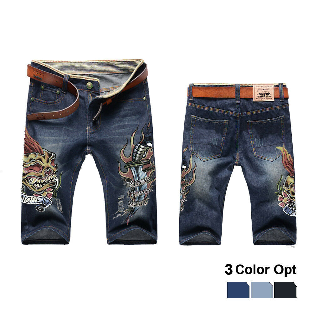Men Boy Short Jeans Skinny Hole Ripped Retro Destroy Pants Denim Straigh Trousers Print Design Beach Hip Hop Skate Pants Lions in Jeans from Men 39 s Clothing