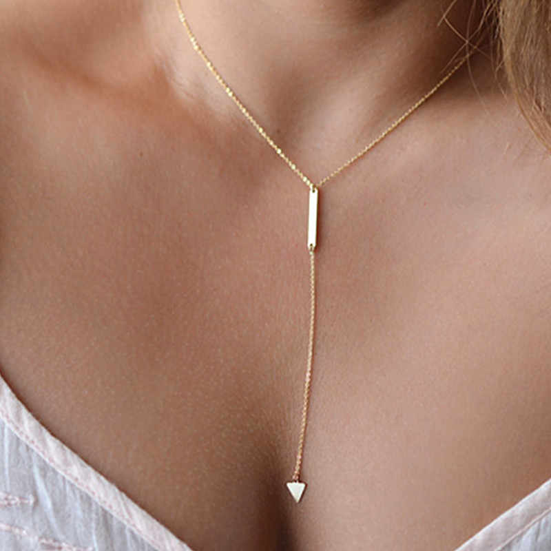 Triangle bead necklaces amp pendants multi layer necklace gold statement women summer jewelry necklaces & pendants X191