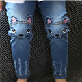 Cute Cartoon Pattern Kids Jeans Winter Autumn Lovely Cat  Children Pants Casual trouses Baby Girls Jeans