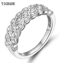 TIGRADE Classic 925 Sterling Silver Ring for Women Cubic Zirconia Wedding & Engagement Jewelry Prong Setting Rings Wedding Band colorfish three stone silver engagement rings prong set princess cut sona cubic zirconia ring women 925 sterling silver ring