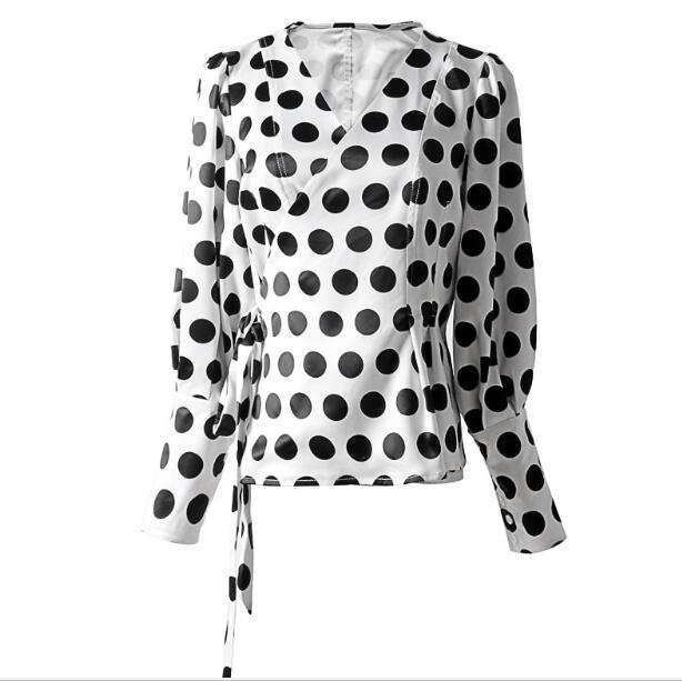 2019 nouveau printemps col en V à manches longues lanterne blanc point imprimé lâche Bandage chemise femmes Blouse mode marée - 5