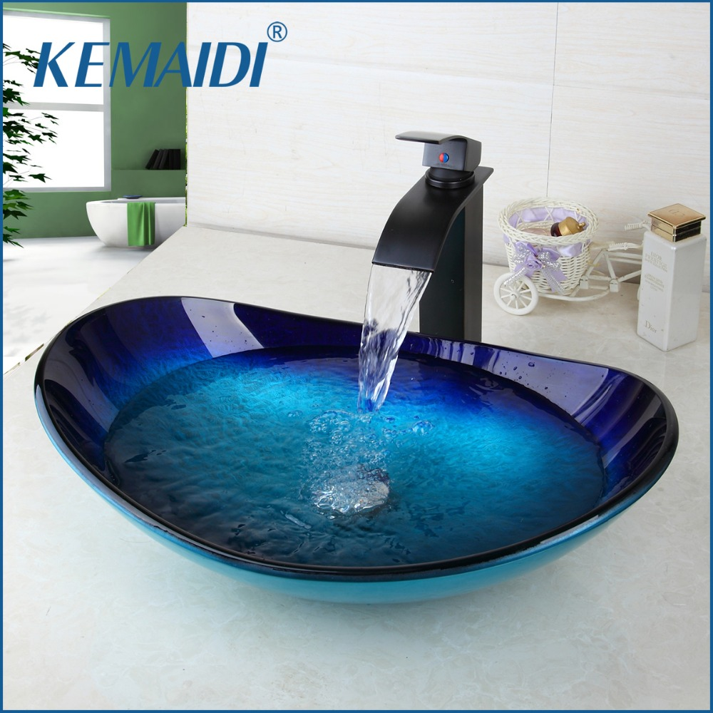KEMAIDI Waterfall Spout Basin Black Tap+Bathroom Sink Washbasin Tempered Glass Hand-Painted Bath Brass Set Faucet Mixer Taps kemaidi new arrival bathroom waterfall washbasin lavatory tempered glass basin sink combine vessel vanity tap mixer faucet