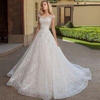 Wedding Gowns Bridal Dresses Vestido De Noiva Luxurious Wedding Dress Cap Sleeves 2019 A Line Beading Sashes Bride Dress
