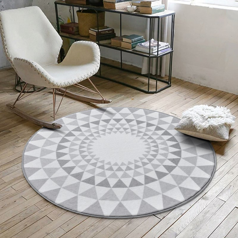 Nordic Gray Series Round Carpets For Living Room Game Crawl Rug Child bedroom computer c ...