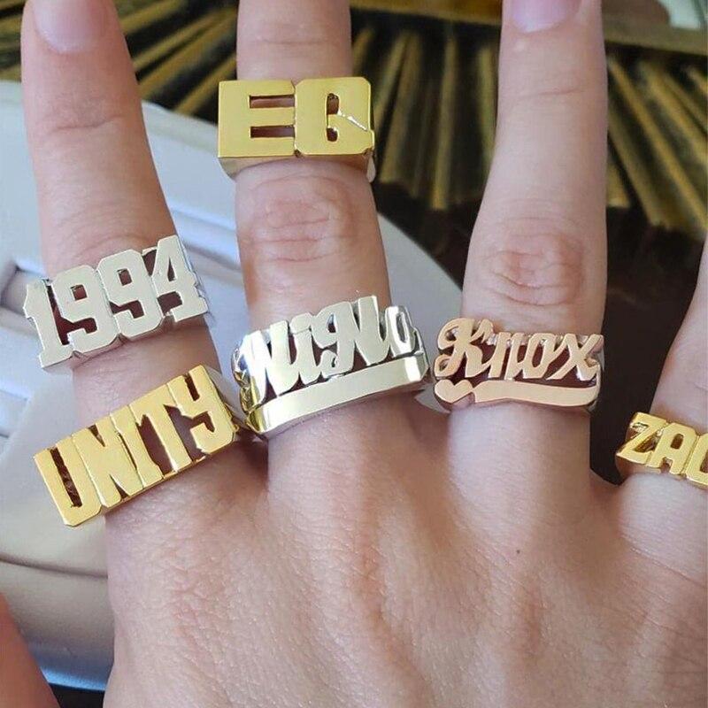 Lateefah personnalisé vieux anglais année numéro d'identification anneau Punk hommes personnalisé Hip Hop Rock anneaux unisexe accessoires cadeaux de haute qualité