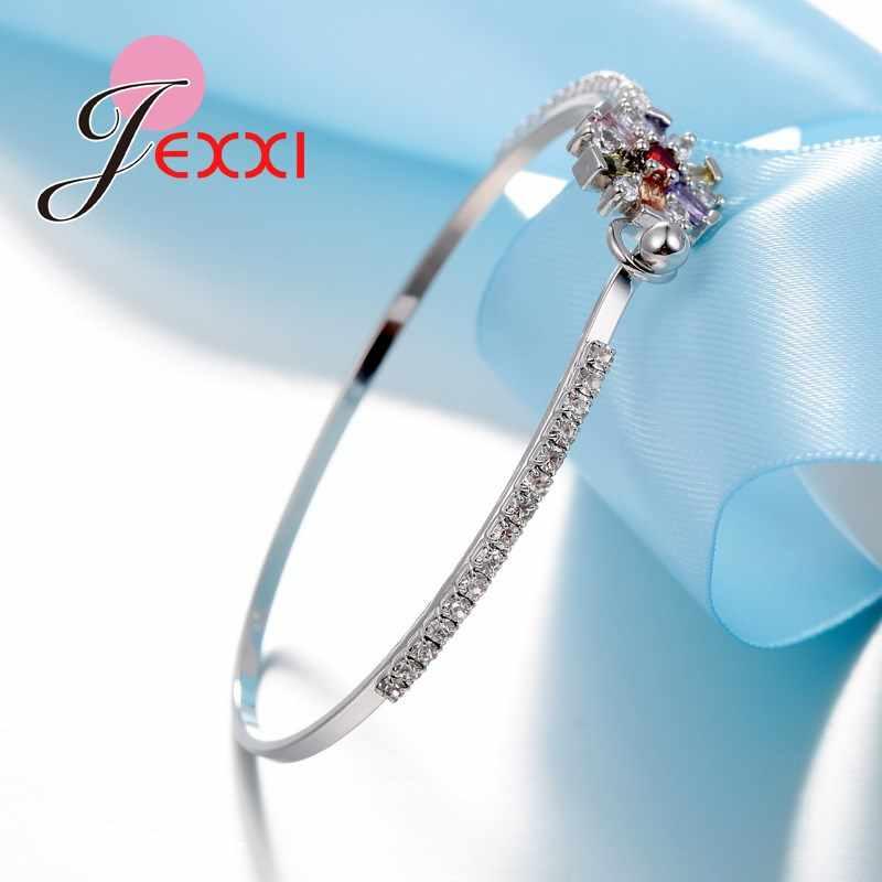 ゴージャスなのため恋人姉妹 Romintic ブレスレット 925 スターリングシルバー花の形のカラフルなキュービックジルコニア人気