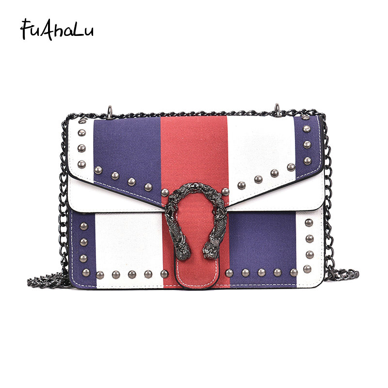 FuAhaLu Autumn new retro rivet handkerchief chain shoulder bag Korean version of the wild Messenger lock small flap