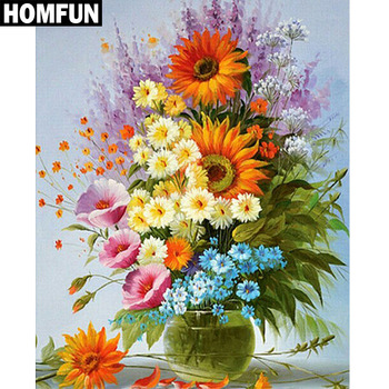"HOMFUN 5D Diamond Pattern Rhinestone Needlework Diy Diamond Painting Cross Stitch ""Colored flowers"" Diamond Embroidery"