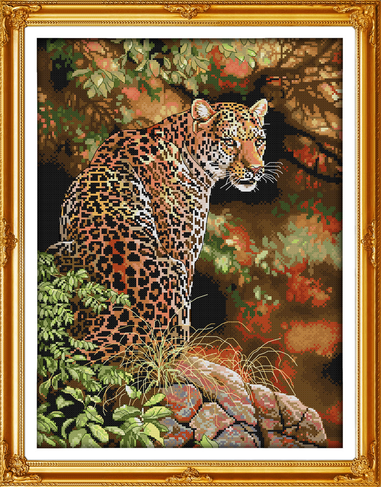 Beautiful Cheetah Printed On Canvas DMC Counted Chinese Cross Stitch Kits Printed Cross-stitch Set Embroidery Needlework