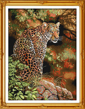 Beautiful Cheetah Printed on Canvas DMC Counted Chinese Cross Stitch Kits printed Cross-stitch set Embroidery Needlework