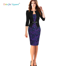 Colorful Apparel Womens Elegant Faux Twinset Belted Tartan Floral Lace Patchwork Wear to Work Pencil Sheath Dress CA237A